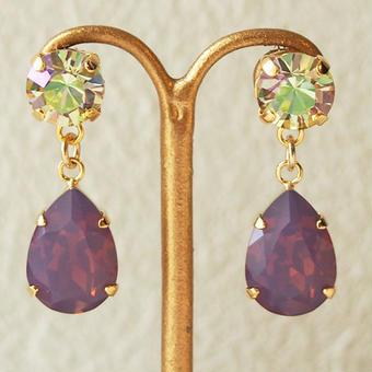 2color bijou pierce(ルミナスグリーン×シクラメンオパール)