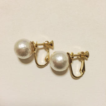 12mm cottonpearl earring(ホワイト)