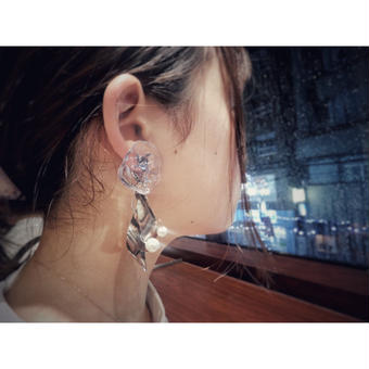 jelly fish earring(pierce) blue