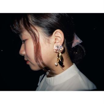jelly fish earring(pierce) white