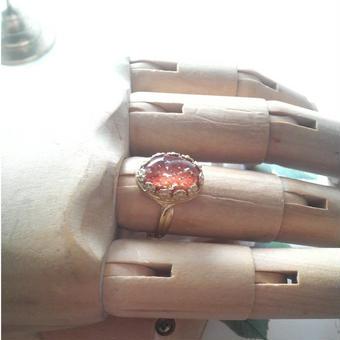ヴィンテージ コーラルFoil/クラシカルflower指輪