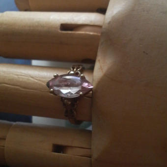 サフィレット レアPurple15×7Navette アンティークゴールド指輪(フリーサイズ)