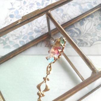 アンティーク アイリスグラス(14.2×6.8ミリ)14KGFネックレス