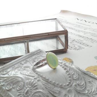 ヴィンテージ レモンOpalシンプル指輪(シルバーカラー)
