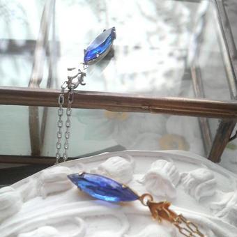 ヴィンテージ サファイアNavette(15×4)ネックレス
