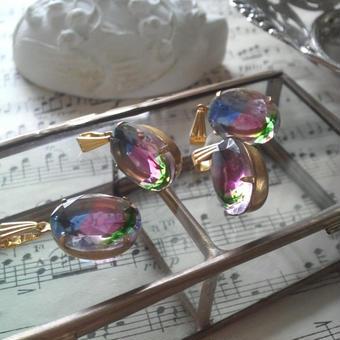 ヴィンテージ Irisグラス シンプルネックレス