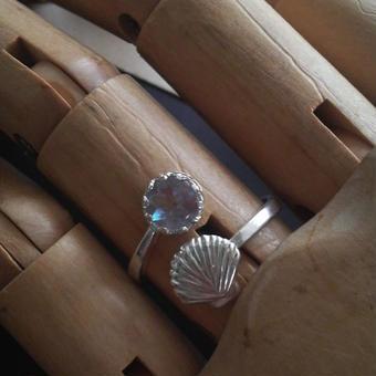 サフィレット(6.5ミリ)Silver925 クラシカル貝殻指輪(フリーサイズ)