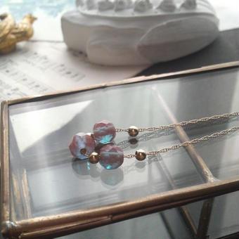 アンティークサフィレット3連/Beads 14KGFネックレス