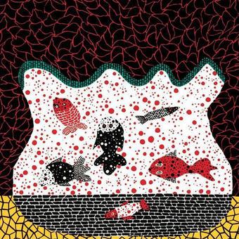 草間彌生 お魚(金魚)  リトグラフ版画 (#217)