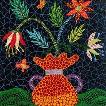 草間彌生 花 花と花瓶  リトグラフ版画(202)