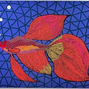 草間彌生 お魚(金魚)  リトグラフ版画 (#242)