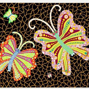 草間彌生 蝶々 3羽の蝶々 リトグラフ版画(84)
