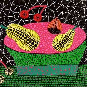 草間彌生 果物 果物とかご  リトグラフ版画(#164)
