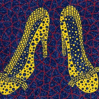 草間彌生 靴(黄色いハイヒール)  リトグラフ版画 (#40)