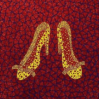 草間彌生 靴(黄色いハイヒール)  リトグラフ版画(#213)