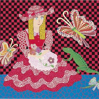 草間彌生 蝶々 女の子とトカゲ リトグラフ版画(06)