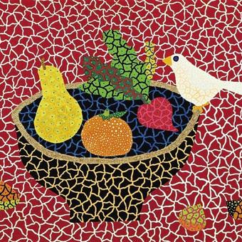 草間彌生 果物 果物と小鳥 リトグラフ版画 (83)