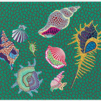 草間彌生 お魚(貝)  リトグラフ版画 (#160)