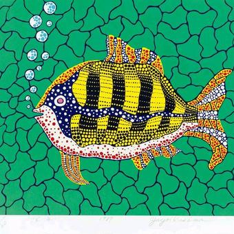 草間彌生 お魚  リトグラフ版画 (#223)