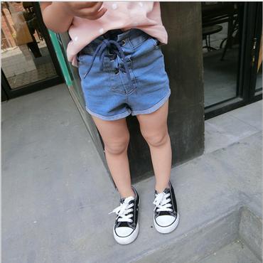 kids★lace-up denim short pants