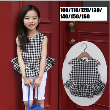 kids★frill gingham check blouse