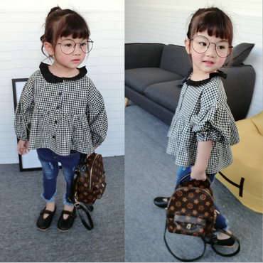 kids★gingham check   balloon blouse