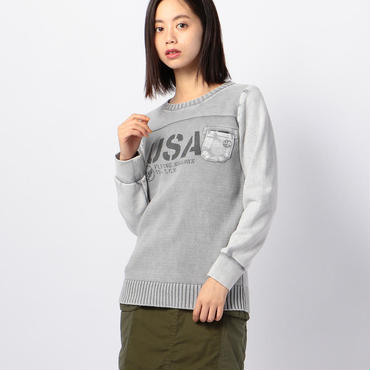 GARMENT DYED KNIT SWEATER