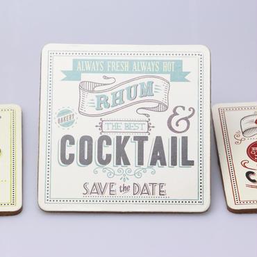フランス発cocktailシリーズコースター【RHUMブルー】