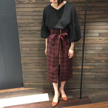 ウエストリボン チェックタイトスカート
