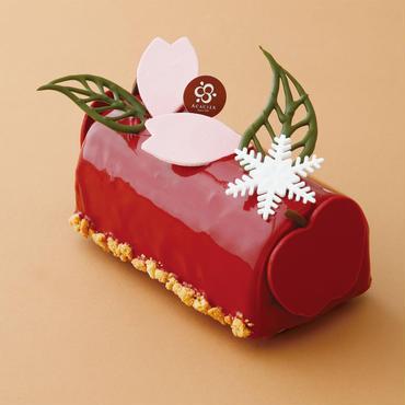 紅の桜ビュッシュ Bûche de sakura et pomme rouge