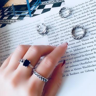 silver925 black stone torsion ring