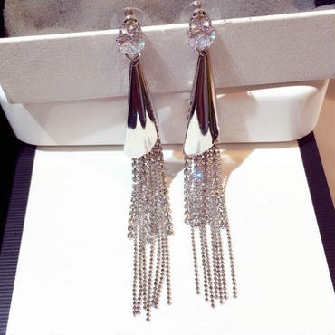 silver  fringe  long  pierce