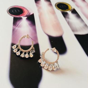 stone silver hoop  pierce