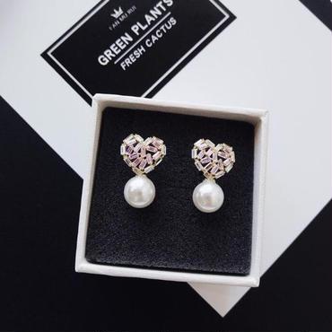bijou  heart × pearl pierce