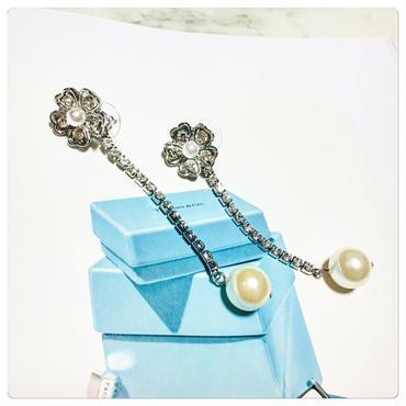 flower pearl long 2way pierce