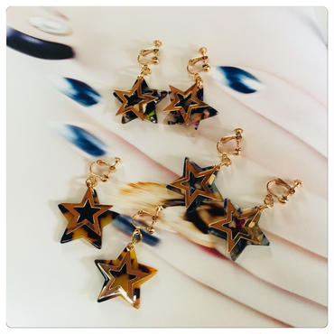 star gold marble plate earring