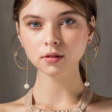 ending  hoop chain pearl  pierce