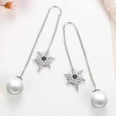 crystal pearl long  pierce