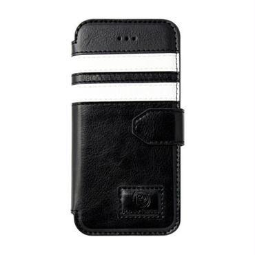 【SALE】iPhone5/5s 手帳型レザーケース ツーストライプ / ブラック