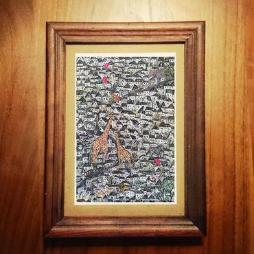 ポストカード 「なかよし動物の街」