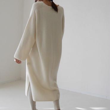 Cashmere&Wool V-DRESS/WHITE