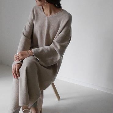Cashmere&Wool V-DRESS/BEIGE