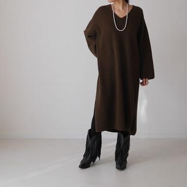 Cashmere&Wool V-DRESS/MOCA KHAKI
