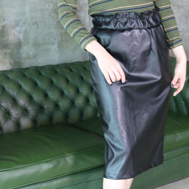 フェイクレザー膝丈スカート