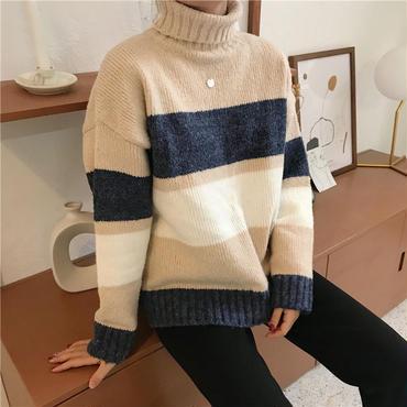 stripe turtle neck knit