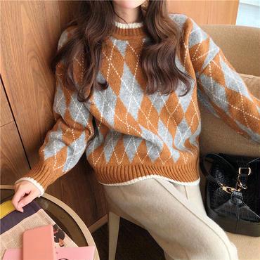 argyle design knit