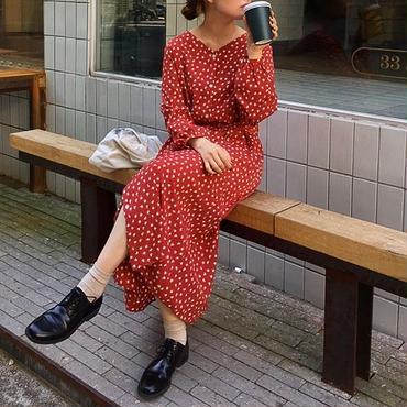v-neck floral long dress