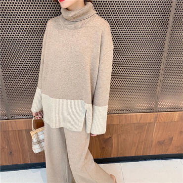 double collar loose knit