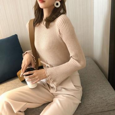 trumpet sleeve rib knit