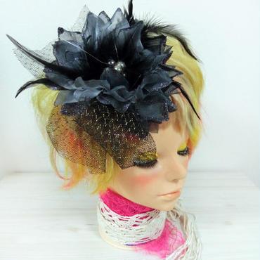 髪飾り コサージュ 大花チュール付き ヘアアクセ 結婚式 成人式